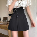 skirt Summer 2021 S,M,L Black, pink Short skirt commute High waist A-line skirt Solid color Type A 18-24 years old 30% and below other other Button Korean version