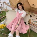 Dress Summer 2021 Pink dress piece, black dress piece, white shirt piece S. M, average size Short skirt singleton  Sleeveless Sweet High waist Solid color Socket A-line skirt straps 18-24 years old Type A 30% and below other other solar system