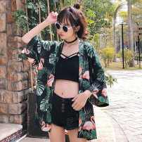 short coat Spring 2018 Average code Green black light brown Seven sleeves Long section Thin section Single Loose conventional Commuting other Tie Plant flowers 18-24 years old one thousand nine hundred and twenty-five printing 96% and above Polyester Polyester