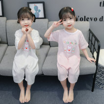 Home suit one piece Other / other Other 100% Size 80 (height 70-78cm, age 1), Size 90 (height 78-87cm, age 1-2), size 100 (height 88-97cm, age 2-3), Size 110 (height 98-107cm, age 3-4), Size 120 (height 108-117cm, age 4-5) Pink, white female summer cotton Class B Home Simplicity Chinese Mainland