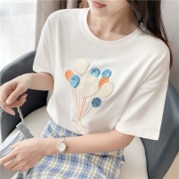 T-shirt Black, white, light green 1044, white 1046, pink, lake green, white 1043, light yellow 1043, red 1046, blue 1043 XL,L,M,XXL Summer 2021 Short sleeve Crew neck easy Regular routine commute cotton 96% and above 18-24 years old Korean version youth Cartoon animation Constellation sweetheart