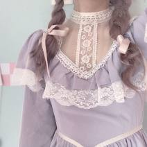 Dress Autumn of 2019 Graph color L,M,S Short skirt singleton  Long sleeves Sweet stand collar High waist Socket shirt sleeve 18-24 years old Type A dog my cats Lace Lolita