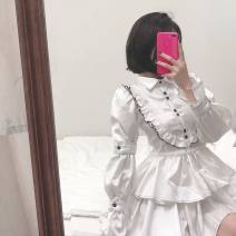 Dress Autumn of 2019 S,M,L Middle-skirt singleton  Long sleeves Sweet High collar High waist Wrap sleeves 18-24 years old Type A dog my cats