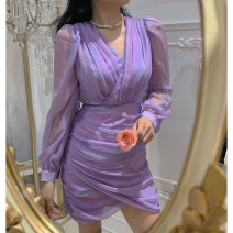Dress Summer 2021 Purple, purple pre-sale S,M,L Short skirt singleton  Long sleeves commute V-neck High waist Solid color zipper One pace skirt 25-29 years old Type H Magpie