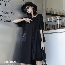 Dress Summer 2021 Black chest under 120 Average size Mid length dress singleton  Short sleeve commute Crew neck Solid color Socket Big swing routine 25-29 years old Type A Jian Han Pocket, lace 71% (inclusive) - 80% (inclusive) other cotton