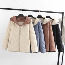 Middle aged and old women's wear Black, apricot, brown leisure time Cotton easy singleton  Solid color Cardigan moderate Hood routine routine zipper