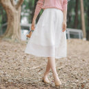skirt Summer 2021 S,M,L,XL Elegant white - stock, elegant white - 20 days in advance longuette commute High waist A-line skirt Solid color Type A 25-29 years old B21XB6814 More than 95% other Hongnian polyester fiber Cut out, pleated, zipper literature