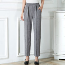 Middle aged and old women's wear Spring 2021, summer 2021 Black, dark gray, light gray, white, smoke gray L,XL,2XL,3XL,4XL,5XL fashion trousers easy singleton  Solid color 50-59 years old thin YLYW21XK816 Come and go Diamond inlay flax trousers
