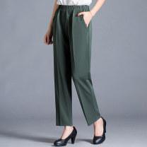 Casual pants L,XL,2XL,3XL,4XL,5XL,6XL Summer 2021 Ninth pants Straight pants High waist commute Thin money 40-49 years old 91% (inclusive) - 95% (inclusive) Button