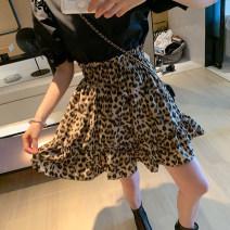 skirt Summer 2021 S, M Leopard Print Short skirt commute High waist Pleated skirt Leopard Print Type A 18-24 years old QZC75-85 91% (inclusive) - 95% (inclusive) Chiffon Big C polyester fiber fungus Korean version