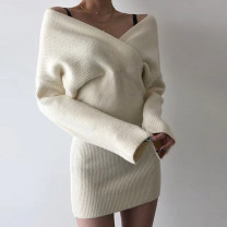 Dress Autumn 2020 Black, white S,M,L Short skirt singleton  Long sleeves street V-neck High waist Solid color Socket One pace skirt pagoda sleeve 18-24 years old Type A OMD7146V0I 31% (inclusive) - 50% (inclusive) knitting cotton Europe and America