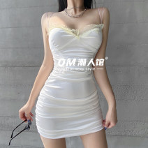 Dress Spring 2021 White, black S,M,L Short skirt singleton  Sleeveless street One word collar High waist Solid color Socket One pace skirt camisole 18-24 years old Type H Fold, resin fixation, lace OMVLD01848 More than 95% other polyester fiber Europe and America