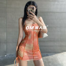 Dress Spring 2021 Blue, orange S,M,L Short skirt singleton  Sleeveless street One word collar High waist other Socket One pace skirt camisole 18-24 years old Type H Pleating, lace up, tie dyeing, resin fixation OMD1720W0D More than 95% other polyester fiber Europe and America