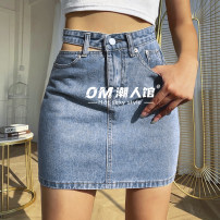 skirt Spring 2021 S,M,L blue Short skirt street High waist A-line skirt Solid color Type A 18-24 years old OMD3289W0F More than 95% Denim polyester fiber Hollow out, resin fixation Europe and America