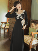 Dress Autumn 2020 black S,M,L,XL Miniskirt singleton  Long sleeves commute other middle-waisted Solid color zipper A-line skirt routine Others 18-24 years old Type A Retro bow 8203#