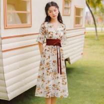Dress Summer 2021 Decor S,M,L Mid length dress singleton  Short sleeve commute V-neck High waist Decor Socket A-line skirt routine Type A Bandage 31% (inclusive) - 50% (inclusive)