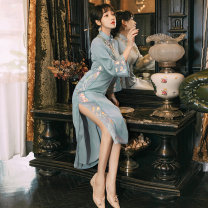 cheongsam Spring 2021 S,M,L Water blue Long sleeves court High slit banquet Round lapel Decor 18-25 years old Embroidery Other / other