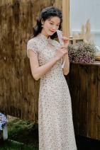 cheongsam Summer 2021 S,M,L Decor Short sleeve long cheongsam Retro High slit daily Oblique lapel Decor 18-25 years old Piping polyester fiber