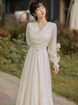 Dress Spring 2021 white S,M,L Mid length dress singleton  Long sleeves commute V-neck High waist Solid color zipper A-line skirt bishop sleeve Others 25-29 years old Type A Retro