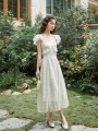 Dress Summer 2020 M, L Mid length dress singleton  Short sleeve commute square neck High waist Solid color zipper A-line skirt Flying sleeve Others 18-24 years old Type A Retro Embroidery, printing 31% (inclusive) - 50% (inclusive)
