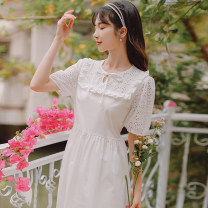 Dress Summer 2021 White, blue S,M,L Mid length dress singleton  Short sleeve commute Crew neck High waist Solid color Socket A-line skirt Princess sleeve 18-24 years old Type A literature Lace up, stitching