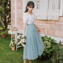 Dress Summer 2021 suit S,M,L Middle-skirt singleton  Short sleeve commute High waist Solid color zipper A-line skirt other 18-24 years old Type A Retro 31% (inclusive) - 50% (inclusive)