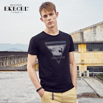 T-shirt Youth fashion routine 170/M 175/L 180/XL 185/XXL 190/3XL 195/4XL Ekecel Short sleeve Crew neck Self cultivation Other leisure summer DT0051 Cotton 100% youth routine tide Knitted fabric Spring 2020 Geometric pattern printing cotton Geometric pattern No iron treatment Fashion brand