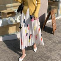 skirt Autumn of 2019 S,M,L,XL,2XL white longuette fresh High waist Pleated skirt other Type A 91% (inclusive) - 95% (inclusive) other other 81g / m ^ 2 (including) - 100g / m ^ 2 (including)