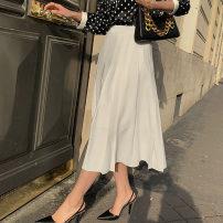 skirt Summer 2020 S,M,L,XL,2XL white Mid length dress commute Natural waist A-line skirt Solid color Type A 51% (inclusive) - 70% (inclusive) Chiffon chujumm other Retro
