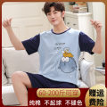 Pajamas / housewear set male Other / other cotton Short sleeve Cartoon Leisure home summer Thin money Crew neck Cartoon animation shorts Socket juvenile 2 pieces rubber string More than 95% pure cotton printing 200g