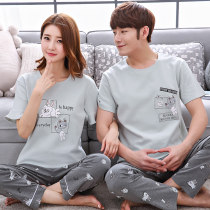 Pajamas / housewear set lovers Anotherher Male l male XL male XXL male 3XL female m female l female XL female XXL female 3XL cotton Short sleeve motion Sports Home summer Thin money Crew neck stripe trousers Socket youth 2 pieces rubber string 81% (inclusive) - 95% (inclusive) Knitted cotton fabric