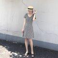 Dress Summer of 2019 Black and white check S,M,L Short skirt singleton  Short sleeve commute V-neck High waist lattice zipper A-line skirt other Others Type A Retro