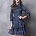 Dress Autumn of 2018 blue S,M,L,XL Middle-skirt singleton  three quarter sleeve commute stand collar middle-waisted Solid color Socket Ruffle Skirt routine Others 25-29 years old Type A ethnic style 81% (inclusive) - 90% (inclusive) Denim cotton