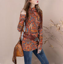 T-shirt Ethnic printing S,M,L Spring 2017 Long sleeves stand collar Self cultivation Medium length other commute hemp 71% (inclusive) - 85% (inclusive) 25-29 years old ethnic style classic printing