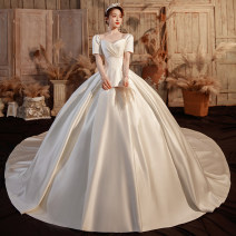 Wedding dress Summer 2021 White ground, white tail S M L XL XXL Korean version Long tail Bandage Hotel Interior One shoulder satin Three dimensional cutting middle-waisted 18-25 years old flower Sleeveless shawl Happy bride Large size Pure e-commerce (online only) soft silk fabric in satin weave