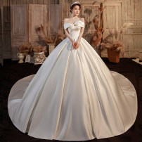 Wedding dress Winter 2020 024 Qidi wedding dress 024 tailing wedding dress XS S M L XL XXL Korean version Long tail Bandage Hotel Interior One shoulder satin Three dimensional cutting middle-waisted 18-25 years old Sleeveless shawl Happy bride Large size Exclusive payment of tmall Other 100%