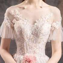 Wedding dress Summer of 2019 9011 Qi Di style 9011 trailing style S M L XL XXL fashion Long tail Bandage Hotel Interior other Gridding yarn Three dimensional cutting middle-waisted 18-25 years old Nail bead Sleeved shawl Happy bride Large size Pure e-commerce (online only) Other 100% Crystal tube