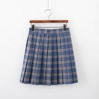 skirt Spring 2020 S,XL,M,L,XXL Blue Gold plaid skirt (bow tie + socks), green plaid skirt (bow tie + socks), blue plaid skirt (bow tie + socks), Purple Plaid Skirt (bow tie + socks), grey plaid skirt (bow tie + socks), brown plaid skirt (bow tie + socks) Short skirt Sweet Pleated skirt lattice Type A