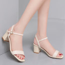 Sandals 35 36 37 38 39 40 Black / 5413 (heel height 6.2cm) beige / 5413 (heel height 6.2cm) Sheepskin (except cashmere / cashmere) Guciheaven / guchitianlun Barefoot Thick heel High heel (5-8cm) Spring 2021 Flat buckle grace Solid color Adhesive shoes Youth (18-40 years old) rubber daily Low Gang PU