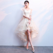 Dress / evening wear Weddings, adulthood parties, company annual meetings, daily appointments XS S M L XL XXL customized [no return] Burgundy black champagne Korean version Medium length middle-waisted Summer of 2018 Fluffy skirt U-neck Bandage 18-25 years old elbow sleeve flower Solid color Yijiayi