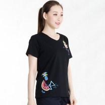 T-shirt A8T1216B Cotton 91.7% polyurethane elastic fiber (spandex) 8.3% Short sleeve cotton Summer 2018 86% (inclusive) - 95% (inclusive) Regular payment La Pagayo Black mint green deep purple Rhododendron S M L XL 2XL 3XL 4XL