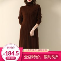 Dress Autumn 2020 Beige, coffee M / one hundred and sixty , L / one hundred and sixty-five longuette singleton  Long sleeves commute High collar middle-waisted Solid color A-line skirt routine Others 30-34 years old Type A Marth Beth Korean version MS20926716 More than 95% wool