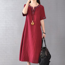 Dress Summer 2020 Red, Navy, green, now limited time impulse discount M,L,XL,2XL longuette singleton  Short sleeve commute V-neck Loose waist Solid color Socket A-line skirt routine Others Type A Other / other ethnic style Embroider, pocket, stitch, tie, make old 81% (inclusive) - 90% (inclusive)