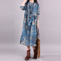 Dress Spring 2020 blue M,L,XL,2XL Mid length dress singleton  Long sleeves commute Crew neck Loose waist Decor Socket A-line skirt routine Others Type A Other / other ethnic style Pocket, asymmetric, printed other hemp