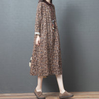 Dress Spring 2020 Grey, brown M,L,XL,2XL Mid length dress Three piece set Long sleeves commute Polo collar Loose waist Broken flowers Socket A-line skirt routine Others Type A Other / other ethnic style Pocket, button, print other hemp