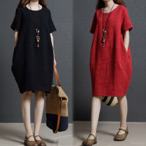 Dress Spring of 2019 Red, black M,L,XL,2XL,3XL Mid length dress singleton  Short sleeve commute Crew neck Loose waist Solid color Socket other routine Others 25-29 years old Type A Other / other literature pocket Short sleeve dress large women's summer 31% (inclusive) - 50% (inclusive) other hemp