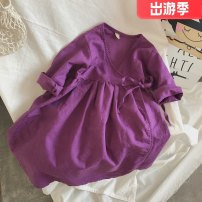 Dress Black purple skirt female Other / other 130cm, 80cm, 90cm, 100cm, 110cm, 120cm, children's 140, children's 150 Other 100% spring and autumn Korean version Strapless skirt Solid color Cotton and hemp other 2 years old, 3 years old, 4 years old, 5 years old, 6 years old, 7 years old