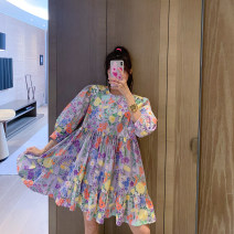Dress Summer 2021 Decor Average spot, average pre-sale as soon as possible longuette singleton  Long sleeves commute Crew neck Loose waist letter zipper other routine Others 25-29 years old Type H PINK DAISY Korean version Pocket, print LYQ00075 51% (inclusive) - 70% (inclusive) other cotton