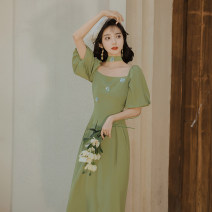 Dress Summer 2020 green S,M,L longuette singleton  Short sleeve commute square neck High waist Solid color zipper other routine Type A Retro Lace up, zipper