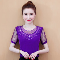 Lace / Chiffon Summer 2021 Purple, blue, red, black, skirt, taro powder M,L,XL,2XL,3XL,4XL Short sleeve commute Socket singleton  Straight cylinder Regular Lotus leaf collar Solid color routine lady 71% (inclusive) - 80% (inclusive)